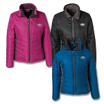 Ladies Stratus Puffer Jacket w/ Gold Bowtie & Chevrolet Script - Size & Color Options