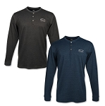 Men's Mini-Stripe Henley Long Sleeve Shirt w/ Tonal Bowtie & Chevrolet Script - Size & Color Options