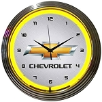 Chevrolet Gold Bowtie Neon Clock