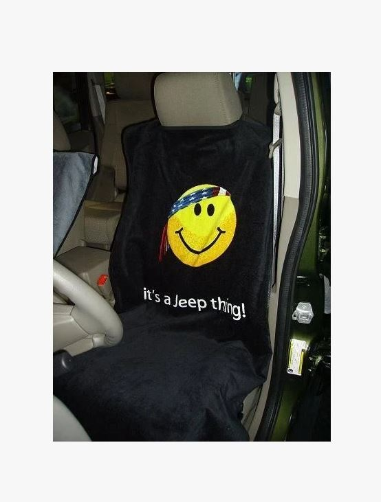 1997+ Jeep Wrangler TJ / JK / JL Seat Armour Front Seat Cover Towel w/ Smiley Face & It's A Jeep Thing Script - Color Options