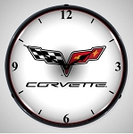 C6 Corvette 2006-2013 Crossed Flags Lighted Clock