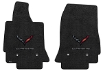 C7 Stingray / Grand Sport / Z06 Corvette 2014-2019 Lloyd Berber 2 Two Piece Front Floor Mats w/ Carbon Flag Emblem & Carbon Script - Color Options
