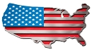USA Map Flag Polished Stainless Steel Emblem - Color Options