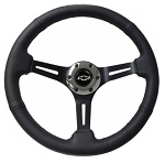 C2 C3 Corvette 1963-1982 Perforated Black Leather Steering Wheel w/ Black Anodized Spokes