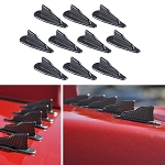 Carbon Fiber Style Air Vortex Diffuser Shark Fins for Roof or Spoiler - 10pc Set