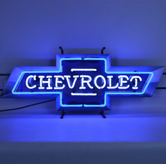 Chevrolet Bowtie Neon Sign - Blue & White w/ Backing
