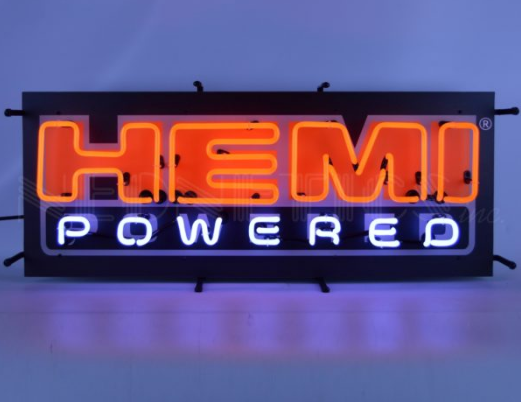 Hemi Powered Red Script Neon Sign w/ Backing