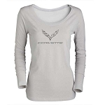 C7 Corvette 2014-2019 Ladies Silver Long Sleeve Shirt w/ C7 Logo and Script