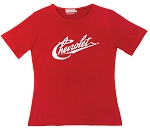 Ladies Vintage Chevrolet Script T-Shirt - Red