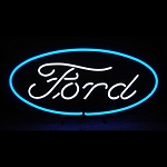 Ford Oval Logo Neon Sign on Metal Grid - 29w x 14h x 4d