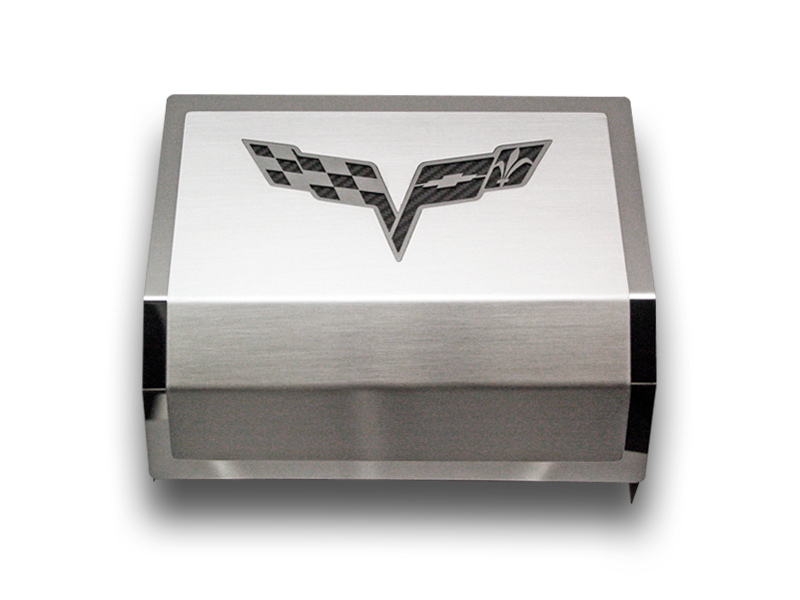 C6 Corvette 2005-2013+ Brushed/Polished Fuse Box Cover with Logo Crossed Flags