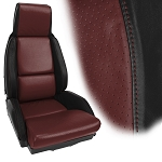 C4 Corvette 1984-1996 100% Leather 2-Toned Standard Seat Covers - Pair - Mounted
