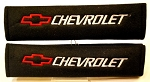 Black Chevrolet Seatbelt Shoulder Pads w/ Red Bowtie