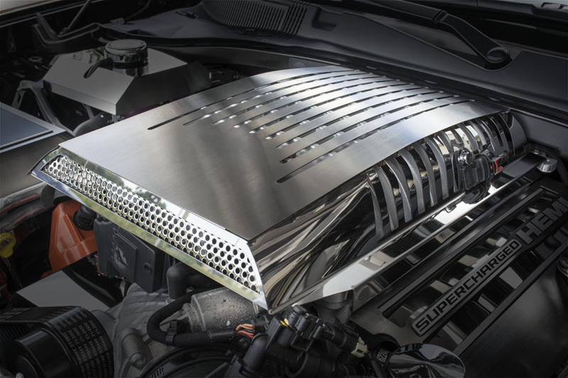 2015-2017 Dodge Challenger Hellcat Polished & Brushed Stainless Steel Plenum / Supercharger ...