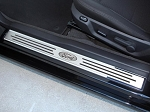 2010-2014 Ford Mustang Door Sills Polished/Brushed Stainless Steel Ford Oval w/ Slotted Carbon Fiber 2Pc Outer