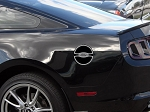 2011-2012 Ford Mustang Polished Stainless Steel Fuel Door Trim w/ Laser Etched Ford Oval