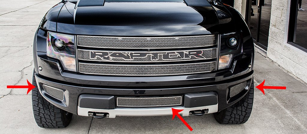 2014 F150 Grill >> 2010-2014 Ford Raptor Stainless Steel Laser Mesh Lower Front Grille Kit - 3pc   Modern Gen Auto