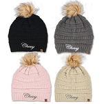 Ladies Chevy Script Knit Beanie with Pom
