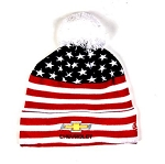 Gold Bowtie American Knit Beanie with Pom