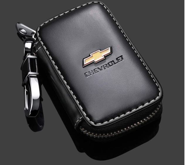 Black Leather Car Key Case
