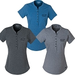 Ladies Ogio Tread Henley w/ Gold Bowtie Emblem - Size & Color Options