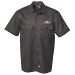 Men's Dickies Work Shirt w/ Gold Bowtie & Chevrolet Script - Size Options