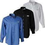 Men's Van Heusen Twill Long Sleeve Dress Shirt w/ Gold Bowtie & Chevrolet Script - Size & Color Options