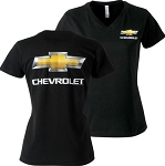 Ladies V-Neck T-Shirt w/ Bowtie Logo & Chevrolet Script - Size Options
