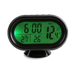 12V Digital Multi-function Gauge w/ LCD LED Display - Indoor/Outdoor Temp, Battery Volt & Clock w/ Alarm