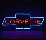 C2 C3 C4 C5 C6 C7 Corvette 1963-2019 Red Script in Blue Chevy Bowtie Neon Sign