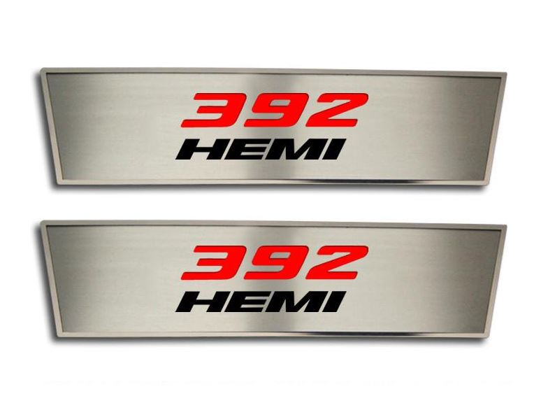 Hemi Name Badge On Carbon Stainless Steel License Plate