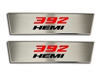 2008-2014 Dodge Challenger Brushed Stainless Door Badge Plate w/ 392 HEMI Cut Out - 2pc Set