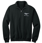 2005-2015+ Ford Mustang 1/4 Zip Fleece w/ Pony Logo & Script - Black