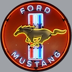 2005-2015+ Ford Mustang Logo & Script Neon Sign w/ Red Backing - 25w x 25h x 4d