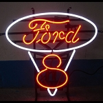 Ford V8 Red & White Neon Sign - 22w x 21h x 4d