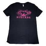 2005-2015+ Ford Mustang Ladies Black Modern Grille Pony w/ Hot Pink Print T-Shirt - Size Options Available