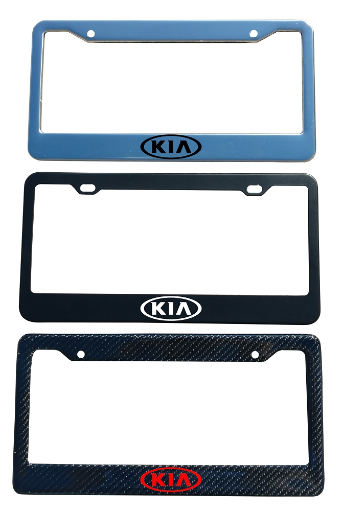 Kia Brand Script License Plate Frame - Color/Finish Selections