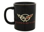 C5 C6 Corvette 1997-2013 Black Travel Mug - 22K Gold Logos