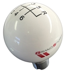 C6 Corvette Grand Sport 2010-2013 White Shift Knob w/ Black Shift Pattern & Grand Sport Logo