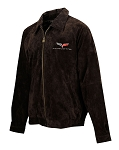 C6 Corvette 2005-2013 Extra Long Suede Bomber Jacket - Brown