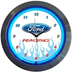 Ford Racing Neon Clock w/ Blue Flames & Ford Logo