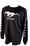 2005-2015+ Ford Mustang Since 1964 w/ Script & Mustang Pony Long Sleeved T-Shirt - Black/Silver