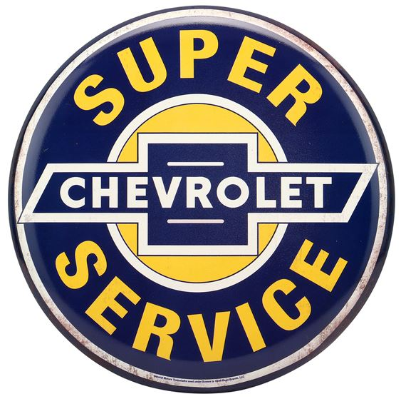 Chevy Super Service Tin Button Sign