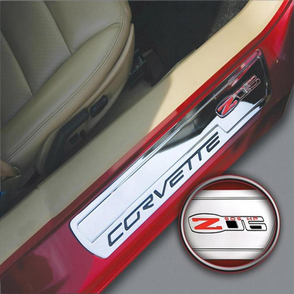 C6 Corvette 2006-2013 Billet Chrome Door Sill Guards - Z06 Logo