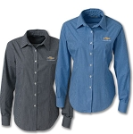 Ladies Chevrolet Gold Bowtie Gingham Check Long Sleeve Shirt w/ Size and Color Options