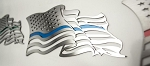 Stainless Steel Flowing American Flag Emblem - Pair