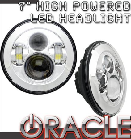 1997-2019 Jeep Wrangler Oracle 7 inch High Powered LED Headlights - Pair - Chrome Bezel - Color Options