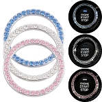 Crystal Bling Engine Start Button Bezel Trim - 3 Rhinestone Colors