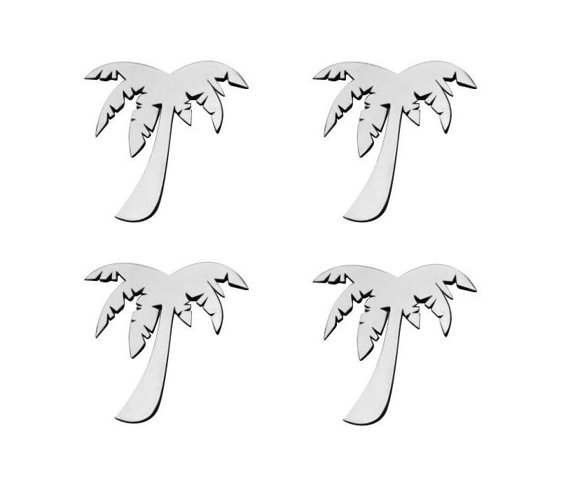 Stainless Steel Palm Tree Emblems - 4pc Set - Finish Options