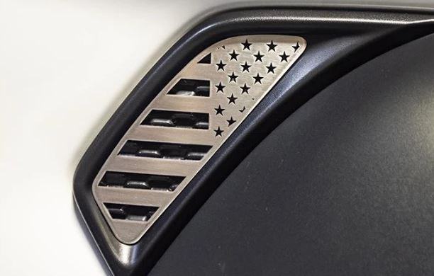 2018-2020 Jeep Wrangler JL Polished Stainless Side Vent American Flag Overlays - 2pcs- Color Options